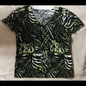 Nygaard Top Green Black and white Petite Large